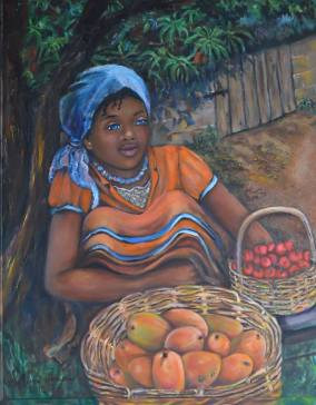 JUDITH SALOMON-DARUCAUD 04 Young girl selling mangoes & cherries