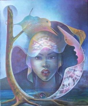 ALBERT DESMANGLES - Vanessa a la perle noire. Tableau Inspiree par Vanessa Desmangles