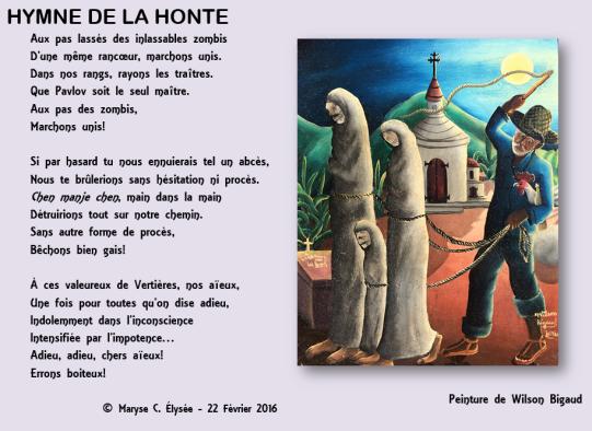HYMNE DE LA HONTE