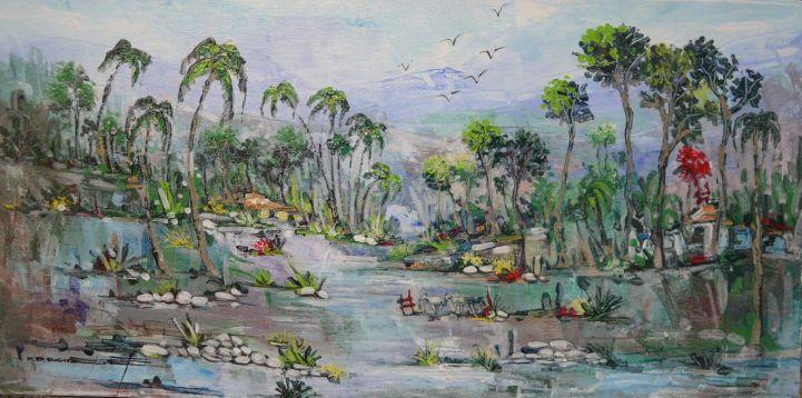 """L'ILE D'HAÏTI (la perle des Antilles) - 12""""x24"""" - $250US"""