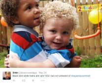 And here's another set of beautiful twin boys with different skin colors.