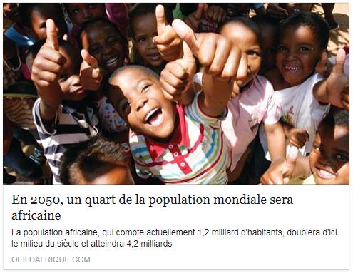 L'Unicef prédit que d'ici 2050, 40 % des enfants de moins de cinq ans dans le monde vivront sur le continent africain. Le Nigéria représentera, en 2050, 10 % des naissances dans le monde et atteindra les 400 millions d'habitants.