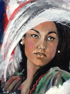 """Women in White hat"""