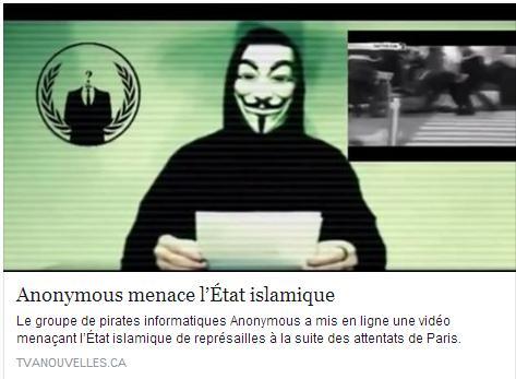 «Notre pays, la France, fut attaquée par de multiples attentats terroristes revendiqués par vous, l'État islamique. Ces attentats ne peuvent pas rester impunis. C'est pourquoi les Anonymous du monde entier vont vous traquer. Oui, vous les vermines qui tuent les pauvres innocents. Oui, nous allons vous traquer, comme nous avons pu le faire depuis les attentats de Charlie Hebdo», dit le personnage masqué d'une voix robotisée.