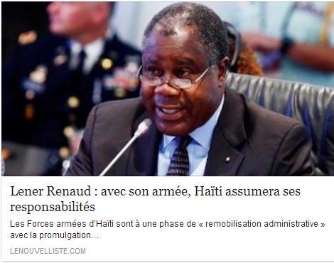 Un décret. Une vertu. Celle de réactiver des dispositions constitutionnelles pour remobiliser les Forces armées d'Haïti. Pour rassurer, Lener Renaud, ministre de la Défense, soutient que les FAD'H nouvelle version embrasseront la modernité, tourneront le dos à la répression et se mettront, avec des jeunes, des universitaires, au service d'une Haïti qui a besoin d'assumer ses responsabilités, sans compter sur l'international.