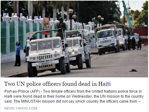 The two are thought to have died overnight between December 29 and 30 in their quarters in Cap Haitien, Haiti's second city, in the north of the country.